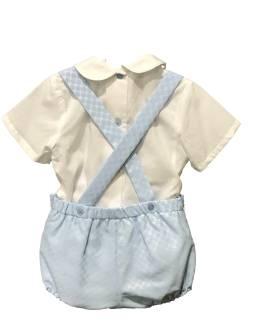 Espalda Dolce Petit conjunto pantalón celeste y blusa con cenefa
