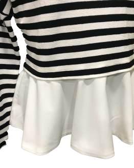 Elsy jersey de rayas con volante blanco detalle