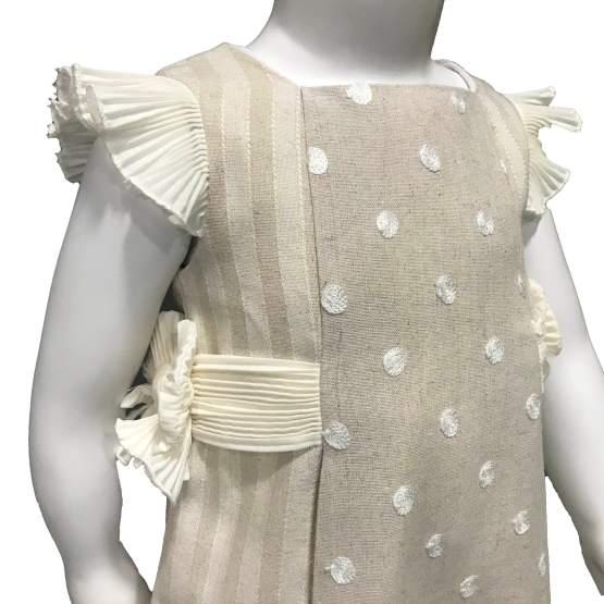 Dolce Petit vestido y braguita rayas y topos en relieve detalle