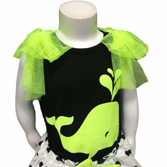 Mon Petit Bonbon conjunto ballena falda y camiseta detalle