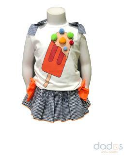 Mon Petit Bonbon conjunto camiseta helado y braga vichy