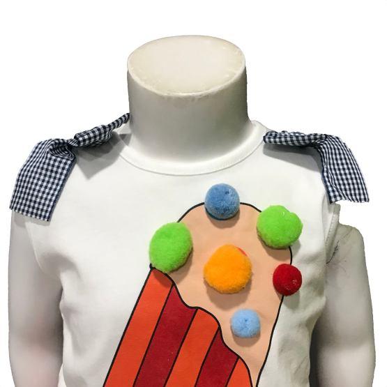 Detalle Mon Petit Bonbon conjunto camiseta helado y braga vichy