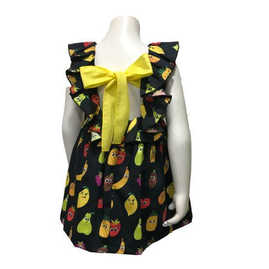 Espalda Mon Petit Bonbon vestido negro de frutas