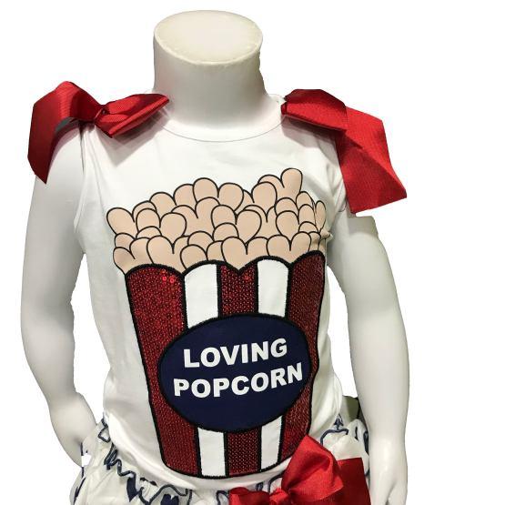 Mon Petit Bonbon conjunto braga corazones y camiseta palomitas detalle