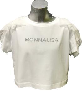 Monnalisa camiseta corta blanca volante tul