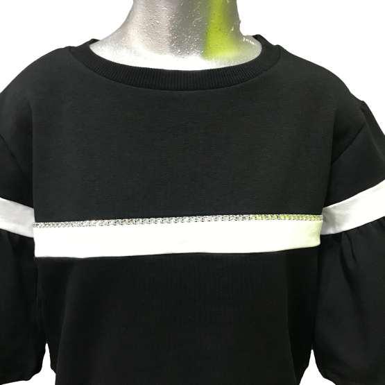 Detalle Monnalisa sudadera felpa negra con franja blanca