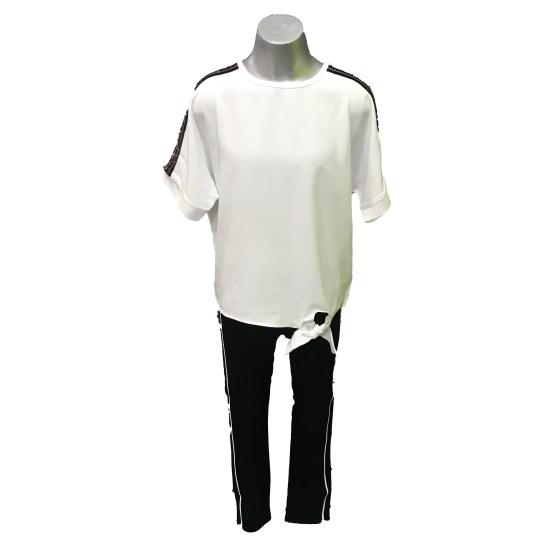 IDO conjunto pantalón negro y blusa blanca