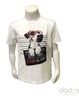 IDO camiseta estampado perro con gafas
