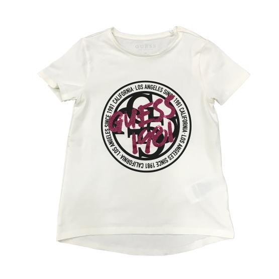 Guess camiseta chica logo redondo blanca