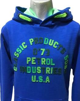Detalle Petrol sudadera azulona letras relieve