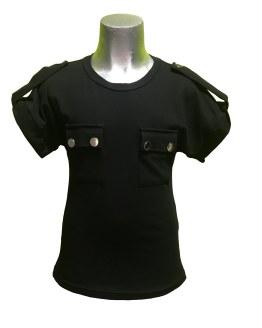 Jaimè camiseta negra bolsillo doble