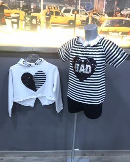 Propuesta look Sarabanda conjunto short y blusa rayas