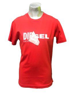 DIESEL camiseta roja logo tela