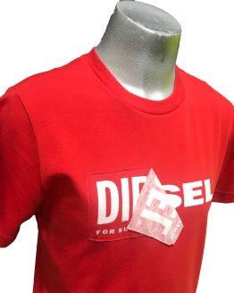 DIESEL camiseta roja logo tela detalle