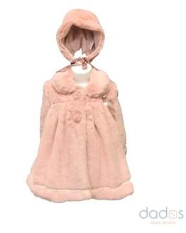 Marta y Paula abrigo bebé rosa pelo y capota
