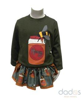 Mon Petit Bonbon conjunto braga-falda y sudadera tarros miel