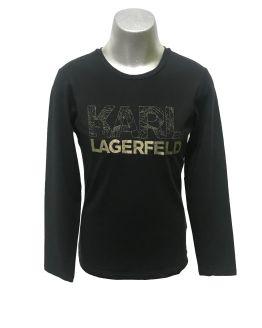 Karl Lagerfeld camiseta chica negra letras doradas