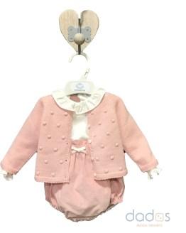 Micolino conjunto rana, blusa y chaqueta rosa empolvado