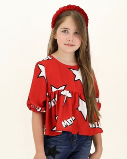 lookbook Monnalisa blusa roja estrellas