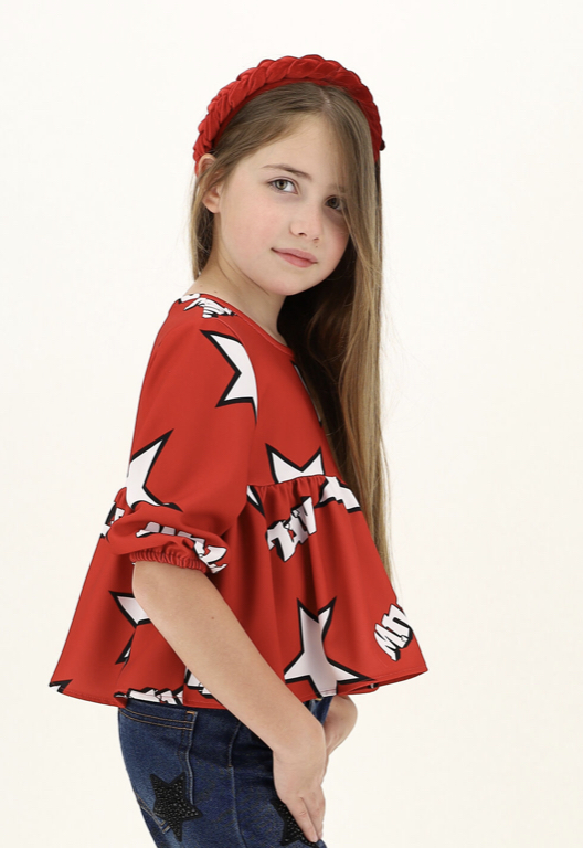 Monnalisa blusa roja estrellas lookbook