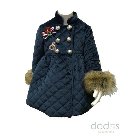 Coquelin abrigo azul marino botones y pelo