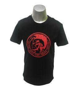 Diesel camiseta negra con logo rojo