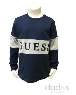 Guess kids camiseta azul marino franja gris