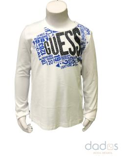 Guess kids camiseta blanca letras azulonas