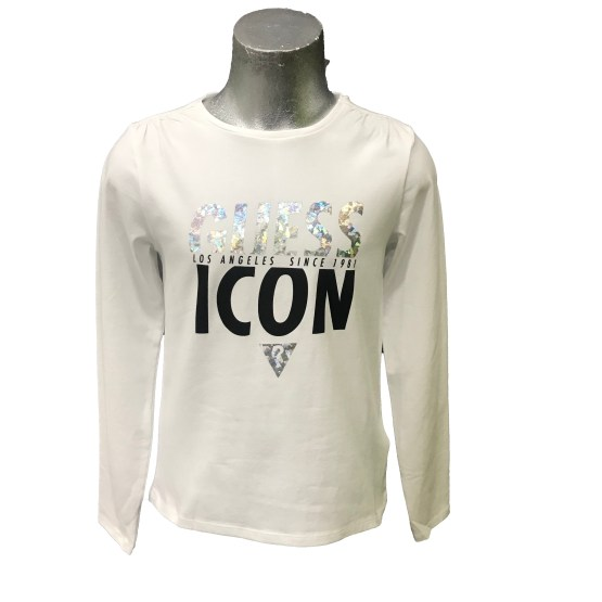 Guess camiseta chica ICON letras plata