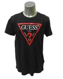 Guess camiseta chico negra logo rojo
