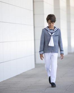 Varones traje marinero comunión azul marino y blanco