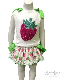 Mon Petit Bonbon conjunto braga y camiseta fresas