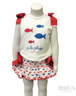 Mon Petit Bonbon conjunto braga y camiseta peces