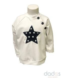 Cocote Sudadera niño blanca estrella azul marino