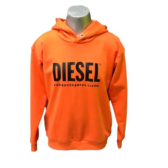 Diesel sudadera chico naranja logo letras