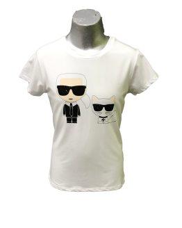 Karl Lagerfeld camiseta chica blanca gato con gafas