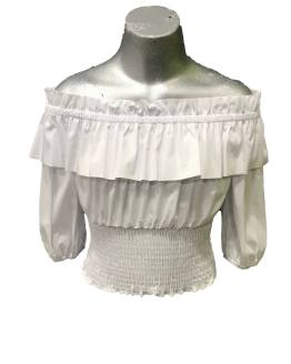 Elsy blusa blanca manga francesa