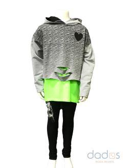 Sarabanda conjunto chica 3 piezas camiseta verde fluor