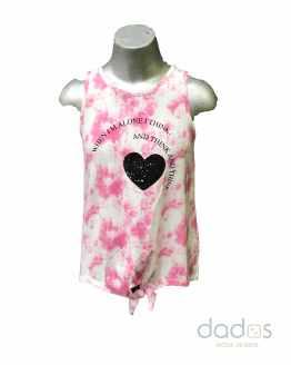 Sarabanda camiseta chica tirantes rosa estampada