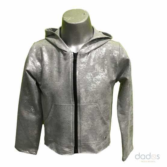 Sarabanda chaqueta chica capucha gris plata