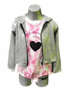 Propuesta look Sarabanda chaqueta chica capucha gris plata