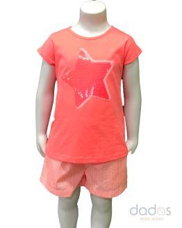 Ido conjunto niña coral camiseta estrella