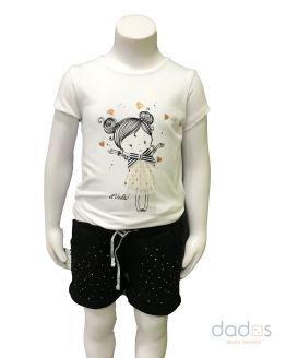 Ido conjunto short negro tachuelas camiseta muñeca