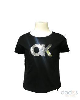Ido camiseta niña negra lentejuelas OK