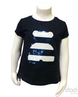 Sarabanda camiseta niña azul navy oso lentejuelas