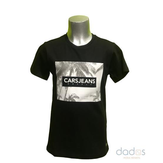 Cars Jeans camiseta negra letras relieve algodón orgánico