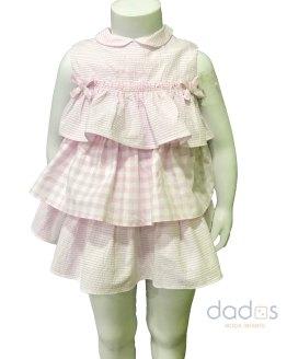 Tutto Piccolo colección Bamba Vestido cuadro rosa volantes