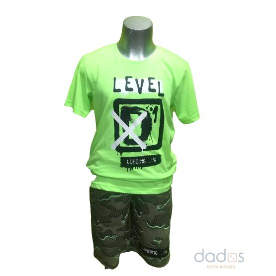 Ido conjunto chico camuflaje con verde fluor