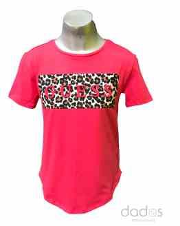 Guess camiseta chica fucsia logo relieve animal print