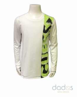 Guess camiseta niño blanca letras verde lima
